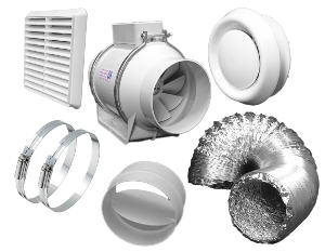 "DOSK 100 TT -Inline Bathroom/Shower TT Extract Fan 4"" Kit"